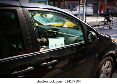 New York, US - 29 August 2015. Uber car service on the streets of New York