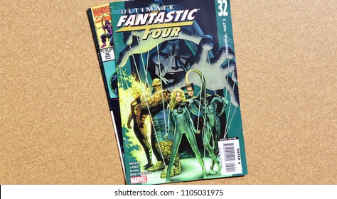 NEW YORK, US - 4 May 2018.: Comics FANTASTIC FOUR on cover. MARVEL COMICS. US.