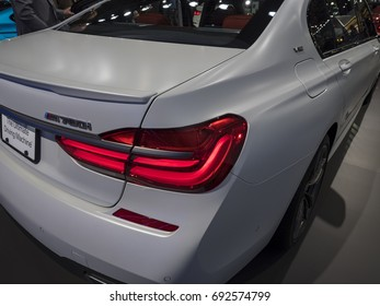 NEW YORK, US - APRIL 12, 2017: BMW M760i on display during the 2017 New York International Auto Show held at the Jacob Javits Center.