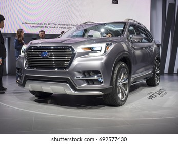 NEW YORK, US - APRIL 12, 2017: Subaru Ascent on display during the 2017 New York International Auto Show held at the Jacob Javits Center.
