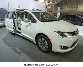 NEW YORK, US - APRIL 12, 2017: Chrysler Pacifica Hybrid on display during the 2017 New York International Auto Show held at the Jacob Javits Center.