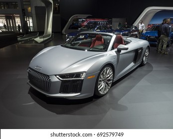 NEW YORK, US - APRIL 12, 2017: Audi R8 V10 on display during the 2017 New York International Auto Show held at the Jacob Javits Center.