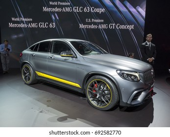 NEW YORK, US - APRIL 12, 2017: Mercedes-AMG GLC 63 Coupe on display during the 2017 New York International Auto Show held at the Jacob Javits Center.