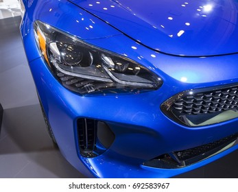 NEW YORK, US - APRIL 12, 2017: Kia Stinger on display during the 2017 New York International Auto Show held at the Jacob Javits Center.