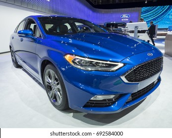 NEW YORK, US - APRIL 12, 2017: Ford Fusion Sport on display during the 2017 New York International Auto Show held at the Jacob Javits Center.
