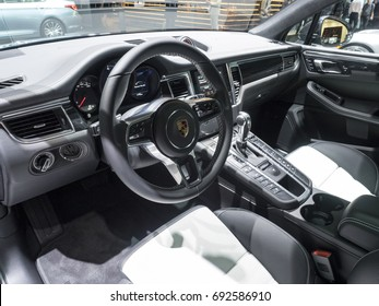 NEW YORK, US - APRIL 12, 2017: Porsche Macan Turbo on display during the 2017 New York International Auto Show held at the Jacob Javits Center.