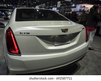 NEW YORK, US - APRIL 12, 2017: Cadillac CT6 plug-in hybrid on display during the 2017 New York International Auto Show held at the Jacob Javits Center.