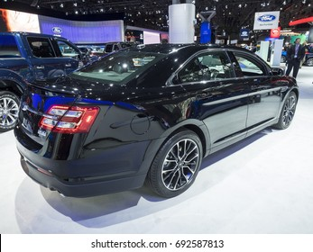 NEW YORK, US - APRIL 12, 2017: Ford Taurus SHO on display during the 2017 New York International Auto Show held at the Jacob Javits Center.