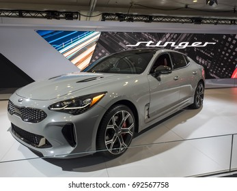 NEW YORK, US - APRIL 13, 2017: Kia Stinger on display during the 2017 New York International Auto Show held at the Jacob Javits Center.