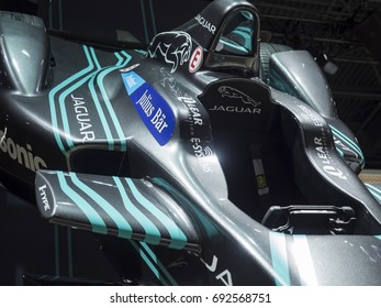 NEW YORK, US - APRIL 13, 2017: Jaguar Formula E race car on display during the 2017 New York International Auto Show held at the Jacob Javits Center.