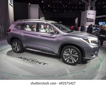 NEW YORK, US - APRIL 13, 2017: Subaru Ascent SUV concept on display during the 2017 New York International Auto Show held at the Jacob Javits Center.