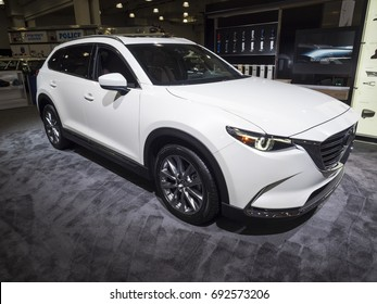 NEW YORK, US - APRIL 13, 2017: Mazda CX-9 on display during the 2017 New York International Auto Show held at the Jacob Javits Center.