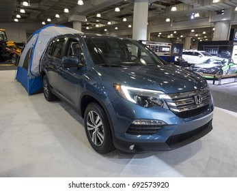 NEW YORK, US - APRIL 13, 2017: Honda Pilot AWD EX-L on display during the 2017 New York International Auto Show held at the Jacob Javits Center.