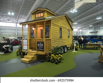 NEW YORK, US - APRIL 13, 2017: Tiny house on display during the 2017 New York International Auto Show held at the Jacob Javits Center.