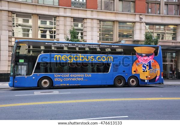 NEW YORK , US - August  17, 2015: Megabus in midtown Manhattan