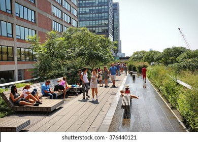 New York, US - August 2015: The High Line Park in New York