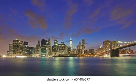 New York, US - August 26, 2016:  Manhattan Skyline at Night, seen from Brooklyn Promenade,