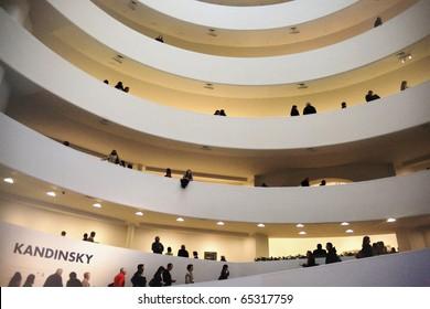 NEW YORK, US - DEC. 10: People entering Guggenheim Museum to visit Kandinski exhibition December 10, 2009 in New York, US.