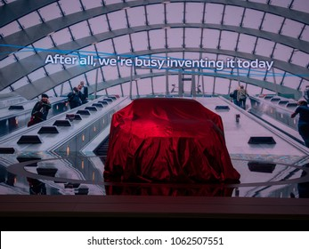 NEW YORK, US - MARCH 28, 2018: Nissan Altima under wraps before it's debut during the 2018 New York International Auto Show held at the Jacob K. Javits Convention Center.