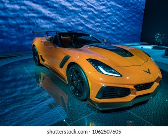 NEW YORK, US - MARCH 28, 2018: Chevrolet Corvette on display during the 2018 New York International Auto Show held at the Jacob K. Javits Convention Center.