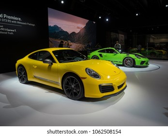 NEW YORK, US - MARCH 28, 2018: Porsche 911 T and 911 GT3 RS with the Weissach package on display during the 2018 New York International Auto Show held at the Jacob K. Javits Convention Center.