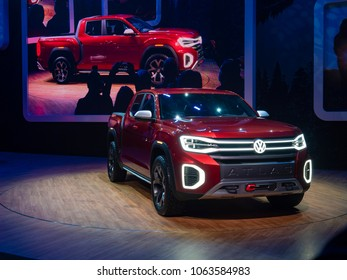 NEW YORK, US - MARCH 28, 2018: Volkswagen Tanoak debut during the 2018 New York International Auto Show held at the Jacob K. Javits Convention Center.