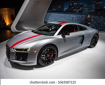 NEW YORK, US - MARCH 28, 2018: Audi R8 V10 RWS on display during the 2018 New York International Auto Show held at the Jacob K. Javits Convention Center.
