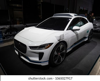 NEW YORK, US - MARCH 28, 2018: Jaguar I-PACE autonomous vehicle for Waymo on display during the 2018 New York International Auto Show held at the Jacob K. Javits Convention Center.