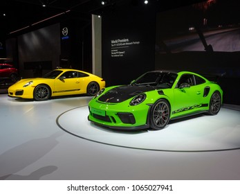 NEW YORK, US - MARCH 28, 2018: Porsche 911 T and 911 GT3 RS Weissach Edition on display during the 2018 New York International Auto Show held at the Jacob K. Javits Convention Center.