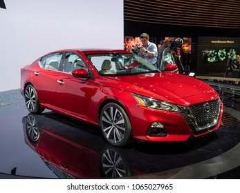 NEW YORK, US - MARCH 28, 2018: Nissan Altima on display during the 2018 New York International Auto Show held at the Jacob K. Javits Convention Center.