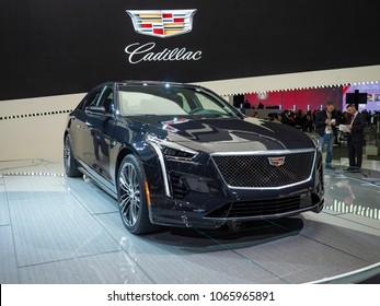 NEW YORK, US - MARCH 28, 2018: Cadillac CT6 on display during the 2018 New York International Auto Show held at the Jacob K. Javits Convention Center.