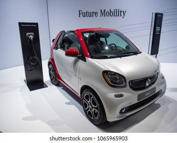 NEW YORK, US - MARCH 28, 2018: Smart Fortwo Electric Drive on display during the 2018 New York International Auto Show held at the Jacob K. Javits Convention Center.