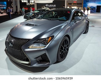 NEW YORK, US - MARCH 28, 2018: Lexus RC F 10th Anniversary on display during the 2018 New York International Auto Show held at the Jacob K. Javits Convention Center.