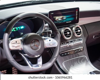 NEW YORK, US - MARCH 28, 2018: Mercedes C-Class cabriolet on display during the 2018 New York International Auto Show held at the Jacob K. Javits Convention Center.