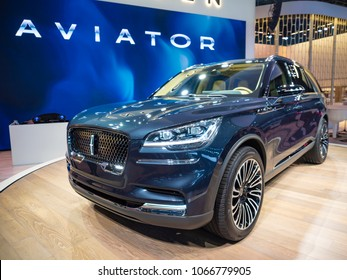 NEW YORK, US - MARCH 28, 2018: Lincoln Aviator on display during the 2018 New York International Auto Show held at the Jacob K. Javits Convention Center.