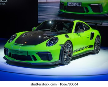 NEW YORK, US - MARCH 28, 2018: Porsche debuts the new 911 GT3 RS Weissach Package during the 2018 New York International Auto Show held at the Jacob K. Javits Convention Center.