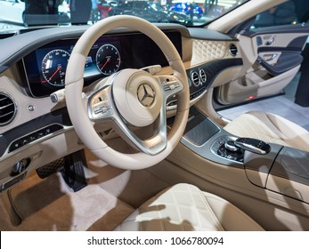 NEW YORK, US - MARCH 28, 2018: Mercedes-Maybach S-Class sedan on display during the 2018 New York International Auto Show held at the Jacob K. Javits Convention Center.