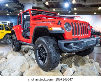 NEW YORK, US - MARCH 28, 2018: Jeep Rubicon Wrangler on display during the 2018 New York International Auto Show held at the Jacob K. Javits Convention Center.
