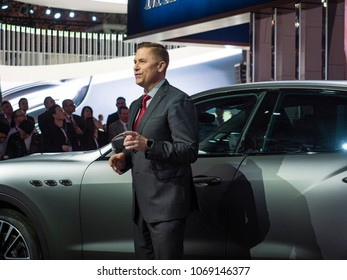 NEW YORK, US - MARCH 28, 2018: Tim Kuniskis debuts the Maserati Levante Trofeo debut during the 2018 New York International Auto Show held at the Jacob K. Javits Convention Center.
