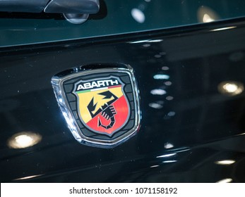 NEW YORK, US - MARCH 28, 2018: Fiat 500 Abarth on display during the 2018 New York International Auto Show held at the Jacob K. Javits Convention Center.