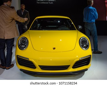 NEW YORK, US - MARCH 28, 2018: Porsche 911 T on display during the 2018 New York International Auto Show held at the Jacob K. Javits Convention Center.