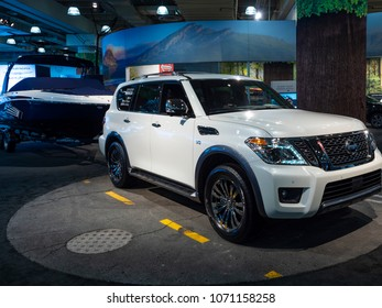 NEW YORK, US - MARCH 28, 2018: Nissan Armada on display during the 2018 New York International Auto Show held at the Jacob K. Javits Convention Center.