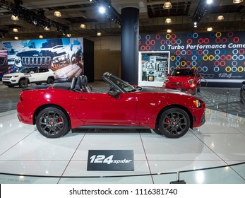 NEW YORK, US - MARCH 28, 2018: Fiat 124 Spider Abarth on display during the 2018 New York International Auto Show held at the Jacob K. Javits Convention Center.