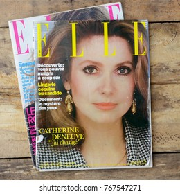NEW YORK, US - OCTOBER 1, 2017. Magazine ELLE French edition JUN 1981 with Catherine Deneuve on cover.
