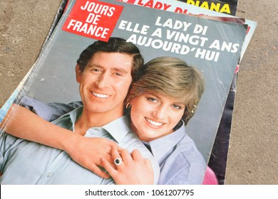 NEW YORK, US - OCTOBER 4, 2017. Magazine Jours De France and royal married couple . Magazine is a product from France.