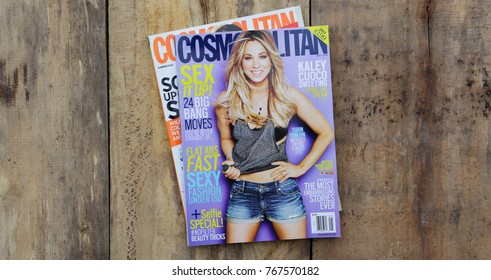NEW YORK, US - OCTOBER 4, 2017. Magazine COSMOPOLITAN May 2014 and Kaley Cuoco on cover.