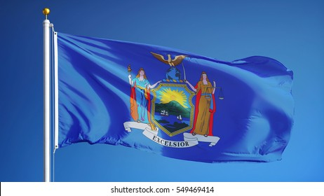 New york (U.S. state) flag waving against clear blue sky, close up, isolated with clipping path mask alpha channel transparency, perfect for film, news, composition