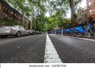 New York, New York / USA - 01 06 2018: Brooklyn neighbourhood, Brownstones near prospect park and Park Slope.