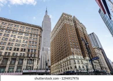New York, New York / USA - 01 07 2019: Empire state building view on Manhattan midtown