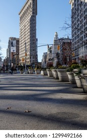 New York, New York / USA - 01 07 2019: Flatiron building district on downtown Manhattan, 5th avenue.